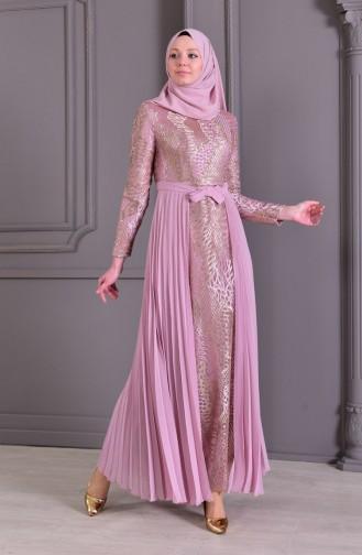 Pilise Detaylı Dantelli Abiye Elbise 8384-01 Lila