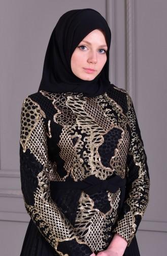 Robe de Soirée Détail Plis 8384-02 Noir 8384-02