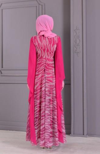 Robe de Soirée Perlées 8438-01 Fushia 8438-01