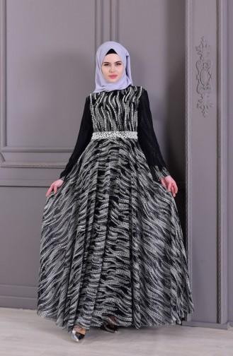 Robe de Soirée Perlées 8438-02 Noir 8438-02