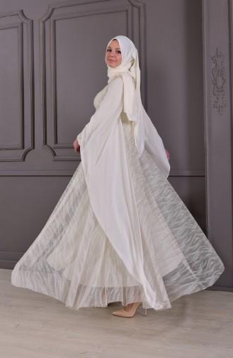 Abendkleid mit Perlen 8438-04 Naturfarbe 8438-04
