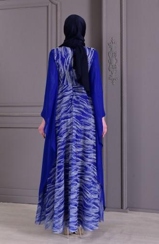 Robe de Soirée Perlées 8438-05 Bleu Roi 8438-05