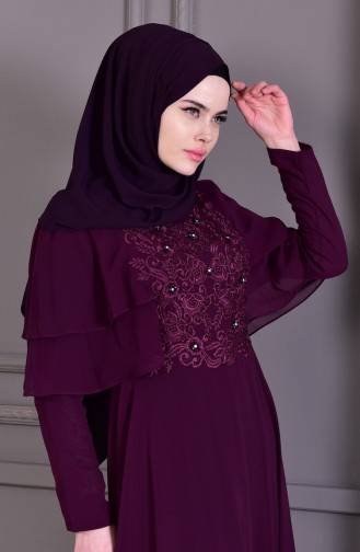 Güpür Detaylı Abiye Elbise 8448-02 Mor