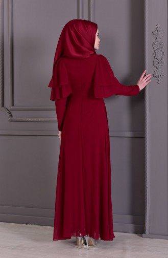 Güpür Detaylı Abiye Elbise 8448-03 Bordo