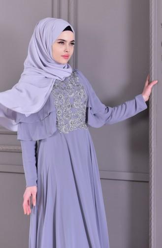 Guipure Detailed Evening Dress 8448-05 Gray 8448-05
