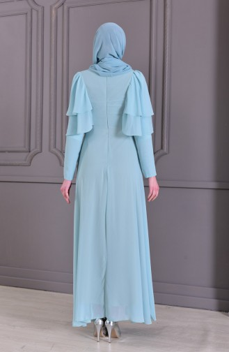 Güpür Detaylı Abiye Elbise 8448-06 Mint Yeşili
