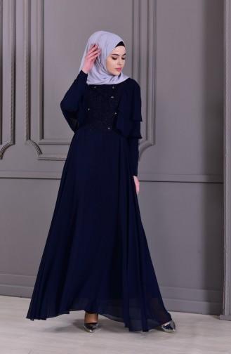 فستان سهرة بتفاصيل من الدانتيل 8448-07 لون كحلي 8448-07