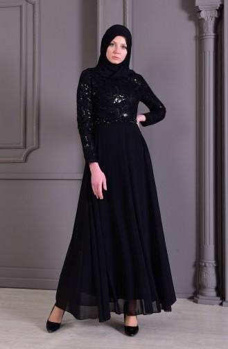 Black Islamic Clothing Evening Dress 8462-01
