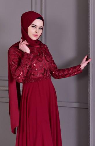 فساتين سهرة بتصميم اسلامي أحمر كلاريت 8462-02