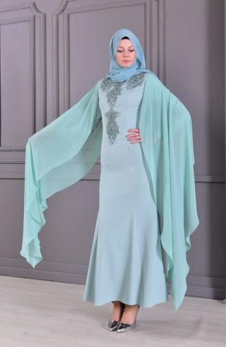فستان سهرة بتفاصيل من الدانتيل 8487-01 لون اخضر 8487-01