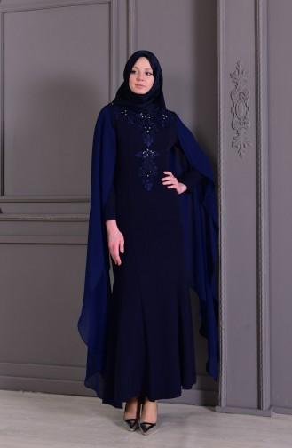 Guipure Detailed Evening Dress 8487-03 Navy 8487-03