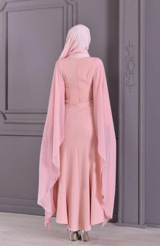 Güpür Detaylı Abiye Elbise 8487-06 Pudra 8487-06
