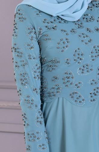Robe de Soirée Perlées 8501-01 Vert Noisette 8501-01