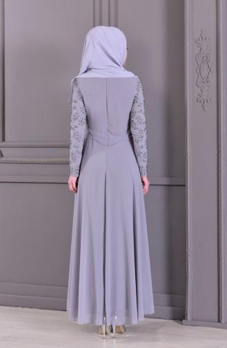 Pearls Evening Dress 8501-02 Gray 8501-02