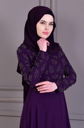 Purple Islamic Clothing Evening Dress 8501-03