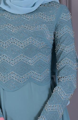 Robe de Soirée Perlées 8502-03 Vert Noisette 8502-03
