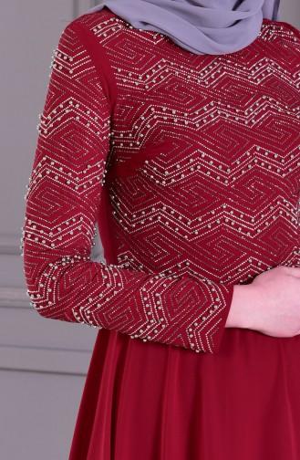 Steinbedrucktes Abendkleid mit Perlen 8502-05 Weinrot 8502-05