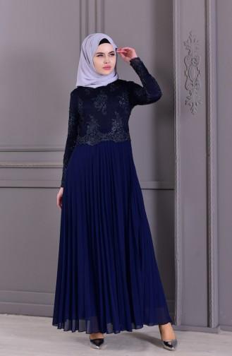 Habillé Hijab Bleu Marine 8504-01