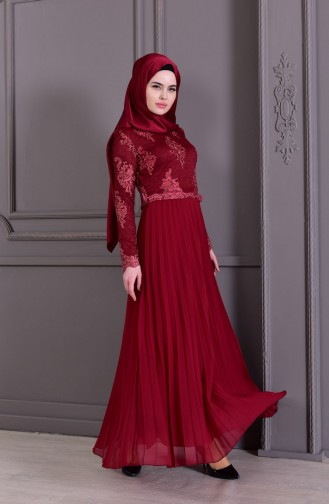 Dantelli Pilise Detaylı Abiye Elbise 8504-03 Bordo