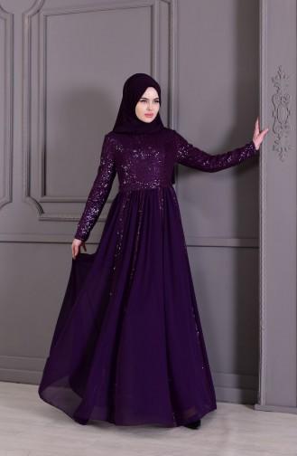 فستان سهرة موصول بقطعة 8545-03 لون بنفسجي 8545-03