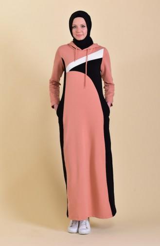 Kapüşonlu Spor Elbise 8382-04 Somon 8382-04