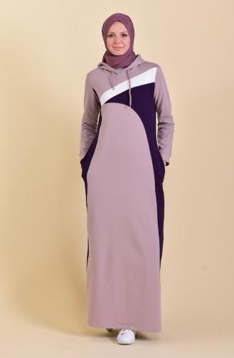 Kapüşonlu Spor Elbise 8382-06 Açık Lila 8382-06