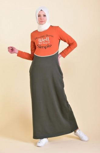 بي وست فستان رياضي بتصميم مُطبع 9026-01لون اخضر كاكي 9026-01