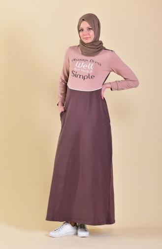 Baskılı Spor Elbise 9026-02 Kahverengi