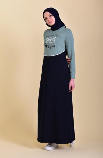 Baskılı Spor Elbise 9026-04 Lacivert