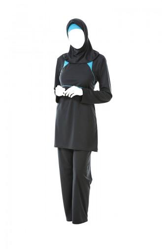 Grosse Grösse Hijab-Badebekleidung 0322-01 Rauchgrau 0322-01
