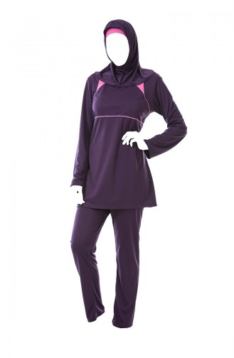 Large Size Striped Hijab Swimsuit 0322-02 Plum 0322-02