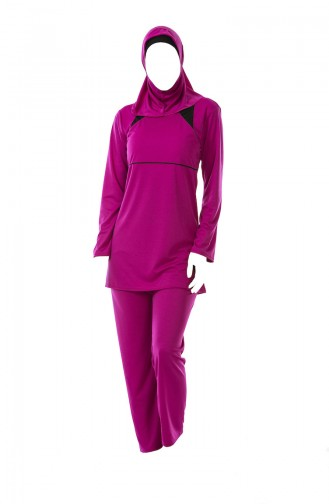 Large Size Striped Hijab Swimsuit 0322-05 Fuchsia 0322-05