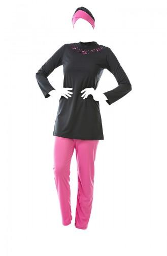 بدلة سباحة للمُحجابات بتصميم ياقة مرتفعة 0328-04 لون اسود مائل للرمادي وزهري 0328-04