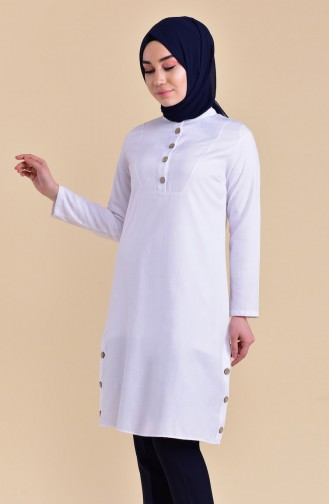 Buttons Detailed Tunic 1272-02 White 1272-02