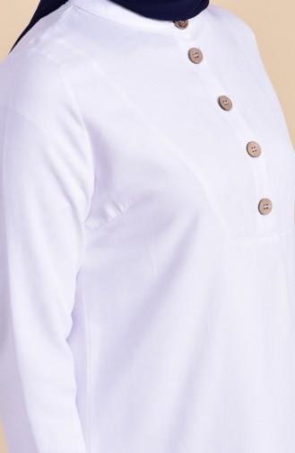 Düğme Detaylı Tunik 1272-02 Beyaz