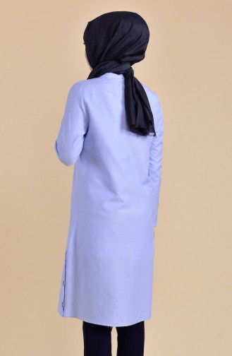 Buttons Detailed Tunic 1272-03 Baby Blue 1272-03