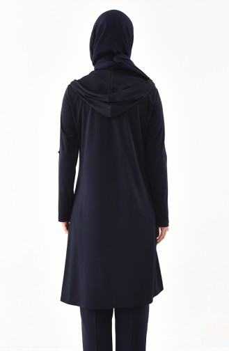 METEX Large Size Zipper Detailed Tunic 1098-02 Navy Blue 1098-02