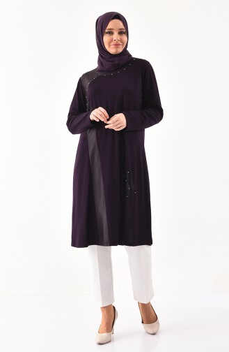 METEX Large Size Pearls Tunic 1127-01 Purple 1127-01