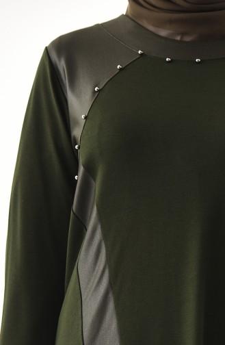METEX Large Size Pearls Tunic 1127-04 Khaki 1127-04