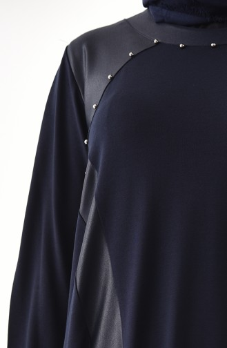 METEX Large Size Pearls Tunic 1127-05 Navy Blue 1127-05