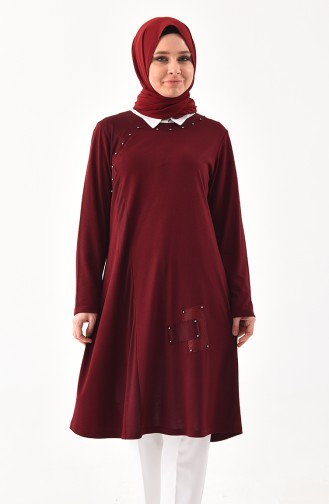 METEX Large Size Pearls Tunic 1127-06 Claret Red 1127-06