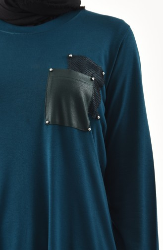 METEX Large Size Pocketed Tunic 1143-01 Petrol 1143-01