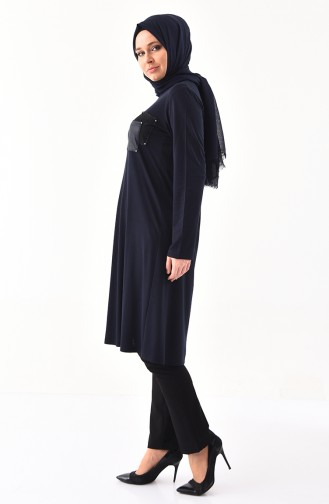 METEX Large Size Pocketed Tunic 1143-03 Navy Blue 1143-03
