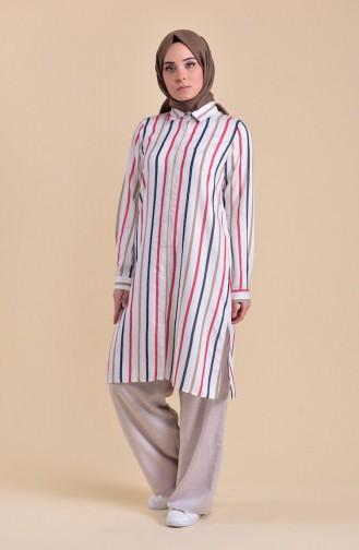 Minahill Striped Viscose Tunic 8219-03 Mink 8219-03