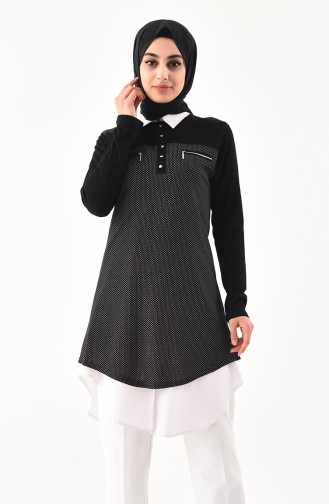 Zipper Detailed Cotton Tunic 4757A-01 Black 4757A-01