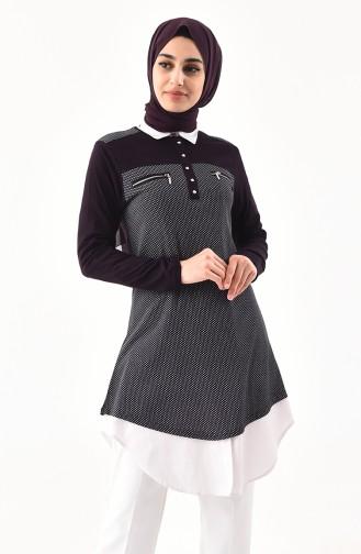 Zipper Detailed Cotton Tunic 4757A-04 Purple 4757A-04