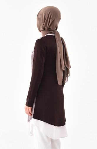 Zipper Detailed Cotton Tunic  4757A-06 Brown Mink 4757A-06