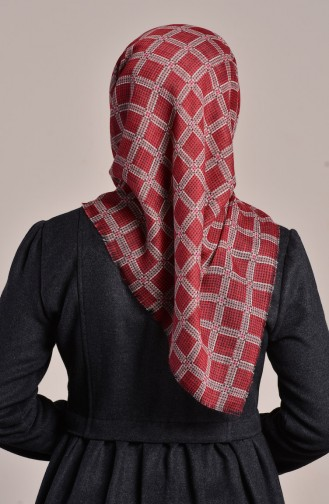 Patterned Flamed Cotton Scarf 2082-20 dark Red 2182-20
