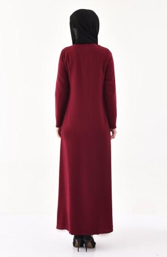 Abaya a Fermeture 0394-03 Plum 0394-03
