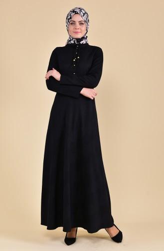 Düğmeli Elbise 8167-03 Siyah